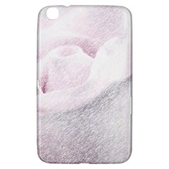 Rose Pink Flower  Floral Pencil Drawing Art Samsung Galaxy Tab 3 (8 ) T3100 Hardshell Case