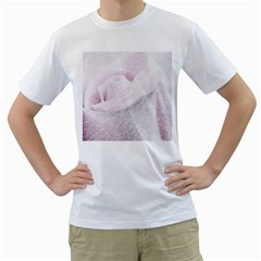 Rose Pink Flower  Floral Pencil Drawing Art Men s T Shirt (white)