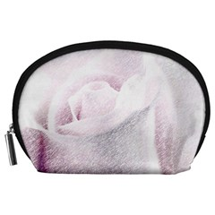 Rose Pink Flower  Floral Pencil Drawing Art Accessory Pouches (large)