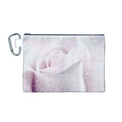 Rose Pink Flower  Floral Pencil Drawing Art Canvas Cosmetic Bag (m)