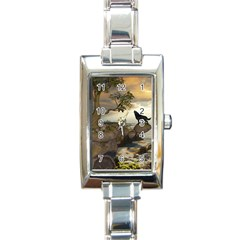 The Lonely Wolf On The Flying Rock Rectangle Italian Charm Watch