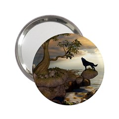 The Lonely Wolf On The Flying Rock 2 25  Handbag Mirrors