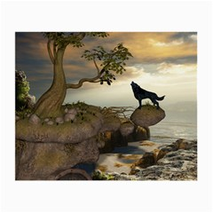 The Lonely Wolf On The Flying Rock Small Glasses Cloth