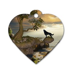 The Lonely Wolf On The Flying Rock Dog Tag Heart (two Sides)