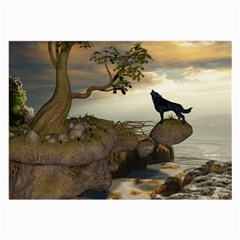 The Lonely Wolf On The Flying Rock Large Glasses Cloth