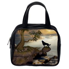 The Lonely Wolf On The Flying Rock Classic Handbags (one Side)