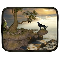 The Lonely Wolf On The Flying Rock Netbook Case (xl)