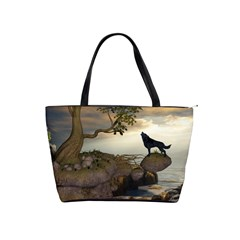 The Lonely Wolf On The Flying Rock Shoulder Handbags