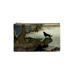 The Lonely Wolf On The Flying Rock Cosmetic Bag (small)