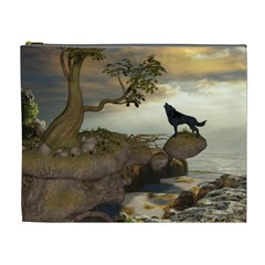 The Lonely Wolf On The Flying Rock Cosmetic Bag (xl)