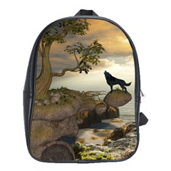 The Lonely Wolf On The Flying Rock School Bag (large)