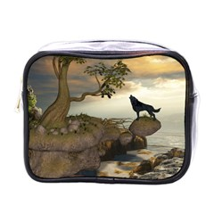 The Lonely Wolf On The Flying Rock Mini Toiletries Bags