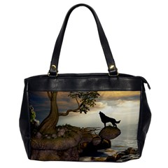 The Lonely Wolf On The Flying Rock Office Handbags