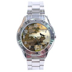 The Lonely Wolf On The Flying Rock Stainless Steel Analogue Watch