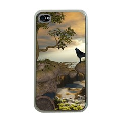 The Lonely Wolf On The Flying Rock Apple Iphone 4 Case (clear)