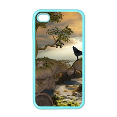 The Lonely Wolf On The Flying Rock Apple Iphone 4 Case (color)