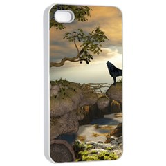 The Lonely Wolf On The Flying Rock Apple Iphone 4/4s Seamless Case (white)