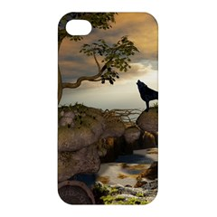 The Lonely Wolf On The Flying Rock Apple Iphone 4/4s Hardshell Case