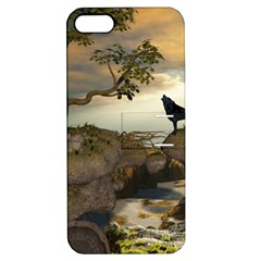 The Lonely Wolf On The Flying Rock Apple Iphone 5 Hardshell Case With Stand