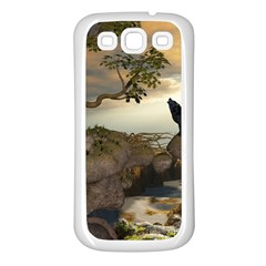 The Lonely Wolf On The Flying Rock Samsung Galaxy S3 Back Case (white)