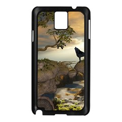 The Lonely Wolf On The Flying Rock Samsung Galaxy Note 3 N9005 Case (black)