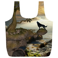 The Lonely Wolf On The Flying Rock Full Print Recycle Bags (l)