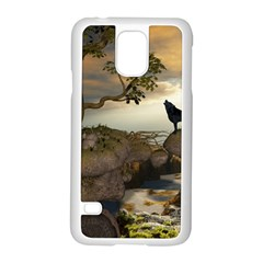 The Lonely Wolf On The Flying Rock Samsung Galaxy S5 Case (white)