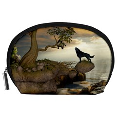 The Lonely Wolf On The Flying Rock Accessory Pouches (large)