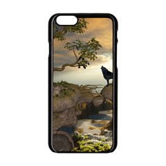 The Lonely Wolf On The Flying Rock Apple Iphone 6/6s Black Enamel Case