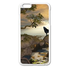 The Lonely Wolf On The Flying Rock Apple Iphone 6 Plus/6s Plus Enamel White Case