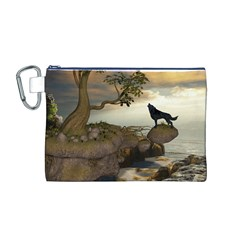 The Lonely Wolf On The Flying Rock Canvas Cosmetic Bag (m)