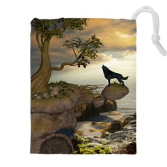 The Lonely Wolf On The Flying Rock Drawstring Pouches (xxl)