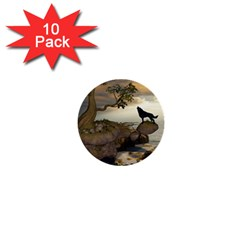 The Lonely Wolf On The Flying Rock 1  Mini Buttons (10 Pack)