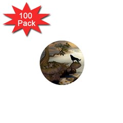 The Lonely Wolf On The Flying Rock 1  Mini Magnets (100 Pack)