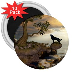 The Lonely Wolf On The Flying Rock 3  Magnets (10 Pack)