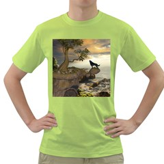 The Lonely Wolf On The Flying Rock Green T Shirt