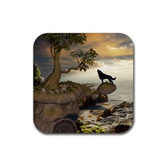 The Lonely Wolf On The Flying Rock Rubber Square Coaster (4 Pack)