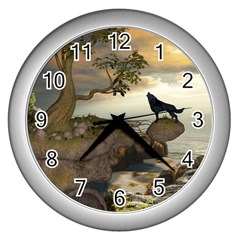 The Lonely Wolf On The Flying Rock Wall Clocks (silver)