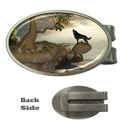 The Lonely Wolf On The Flying Rock Money Clips (oval)