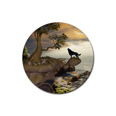 The Lonely Wolf On The Flying Rock Rubber Round Coaster (4 Pack)