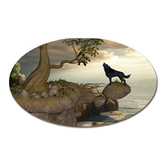 The Lonely Wolf On The Flying Rock Oval Magnet