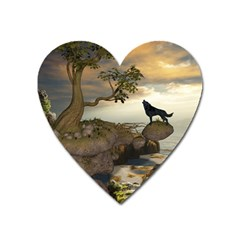 The Lonely Wolf On The Flying Rock Heart Magnet