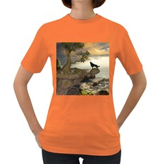 The Lonely Wolf On The Flying Rock Women s Dark T Shirt