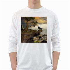 The Lonely Wolf On The Flying Rock White Long Sleeve T Shirts