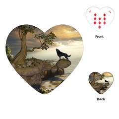 The Lonely Wolf On The Flying Rock Playing Cards (heart)