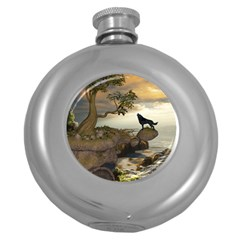 The Lonely Wolf On The Flying Rock Round Hip Flask (5 Oz)