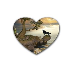 The Lonely Wolf On The Flying Rock Rubber Coaster (heart)