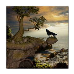 The Lonely Wolf On The Flying Rock Face Towel