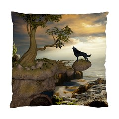 The Lonely Wolf On The Flying Rock Standard Cushion Case (two Sides)