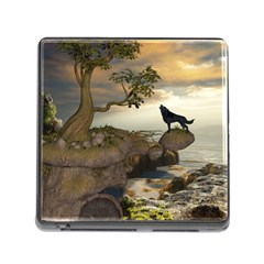 The Lonely Wolf On The Flying Rock Memory Card Reader (square)